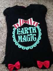 アースマジック・裾リボン半袖Tシャツ・黒140