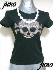 Le Lotus Bleuシルバーストーンスタッズスカル半袖Tシャツ黒ブラックUSAインポートアメリカ
