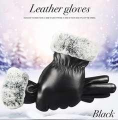手袋 革手袋 レザー レディース ファー付 スマホ手袋 ブラック