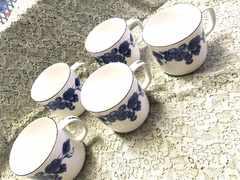 4807 HOYA レトロ未使用 陶器 葡萄 マグカップ 5客
