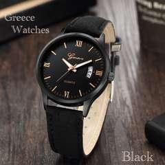 腕時計 ギリシャ文字 スエードレザービンテージ アナログ 黒