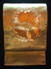 gold金銀*刺繍帯正絹*袋ナゴヤ美品レタR