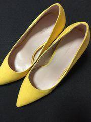 新品未使用箱有ザラZARAパンプス黄色イエロー35サイズ