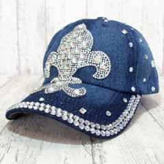 帽子♪ビジュー デコ キャップ フルール インディゴブルー