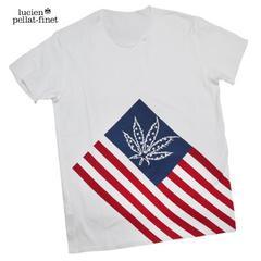 ルシアンペラフィネlucien pellat-finetメンズアメリカ国旗Tシャツ