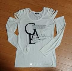 ほぼ未使用 レディース肩開き長袖Tシャツ ロンT オフホワイト M