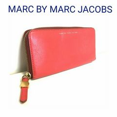 正規 MARC JACOBS レザー 長財布 レッド 赤 マークジェイコブス