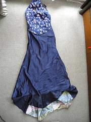 紺サテンのロングドレス 送料500円