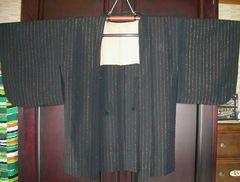 茶金色の縦縞紋様の ウール羽織