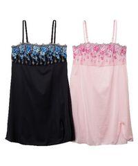 LLサイズ2枚組!胸元高貴な花刺繍!女性感溢れる!黒andピンク色!スリップ