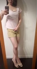 ROPEラウンドネックTシャツ胸元セクシーヌードピンク