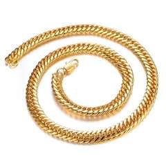 18Kゴールド鍍金 ステンレス素材メンズ喜平ネックレス