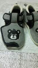 新品クマさん刺繍ギンガムチェックくつ子供用14センチ☆マジックテープ