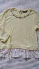 □新品タグ無しINGNIイエローワッフル七分袖装飾ぺプラムTOP□M