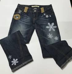 BLUE MOON BLUE ジーンズ 中古美品 サイズ29 雪模様刺繍あり