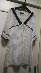 シフォン七分袖ブラウスチュニックドット柄ホワイト白ブラック黒
