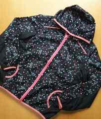 黒×ピンク  英字ロゴ  シャカシャカジャンパー(140)
