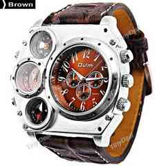 新作oulm正規腕時計◆BIGブラウンベルトディアルフェイス◆DIESEL系◆
