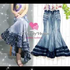 【W94】3L4L*大きいサイズ*マーメイド調裾3段フリルデニムスカート*藍