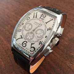 最安値★フランクミュラータイプ♪レザーメンズ腕時計◆ホワイト×ブラック