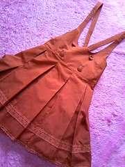 OLIVE des OLIVEクラシカルガーリーレース&大判プリーツサロペ付きスカート