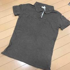 新品◆ナチュラル綿麻リネン混◆半袖ポロシャツ◆Lブラウン