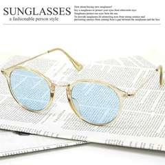 新品 ボストン型 サングラス メンズ レディース UVカット ブルーレンズ クリアフレーム61