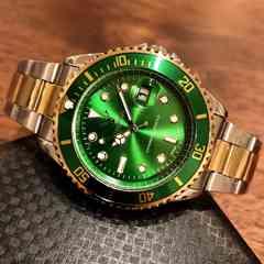 最安値!ロレックス・サブマリーナタイプ◇クォーツ メタル腕時計・グリーン×コンビ