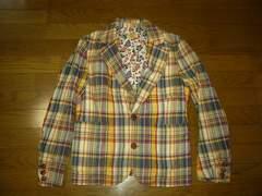 TMTチェックシャツジャケットS薄手アロハ花柄テラード