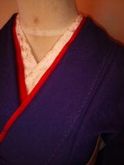上品*江戸紫色無地化繊袷157チョー美品レタP