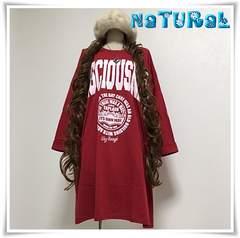 新作★大きいサイズ〜6L CONSCIOUSNESSロゴBigTシャツワンピ*赤