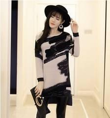 チュニック カットソー 裾不規則 ベージュ 長袖 大きいサイズ