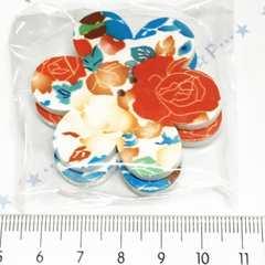 1*�@スタ*大きなお花型ウッドボタン2個*赤い薔薇*36
