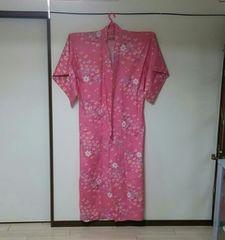 F〜浴衣 ピンク小花柄 鮮やかで可愛い夏祭り浴衣