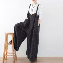 新品【7328】5XL(Bigサイズ)黒★ストライプが可愛いシンプルなオールインワン