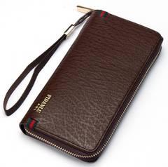 長財布 レザー ラウンドファスナー 札 小銭 カード入れ 茶色