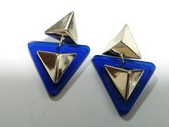 (52)新品◆トライアングルBIG三角ピアスgold青◆EMODA倖田來未系