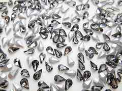 d15★5×8mm★涙型ガラスストーン★ブラックダイヤモンド色★10粒