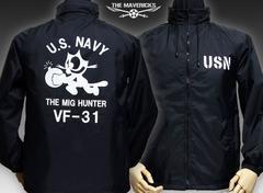 米海軍フェリックス・ナイロンスタンドジャケット新品・黒XL