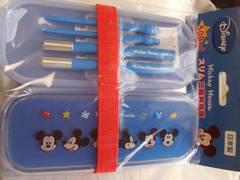 ディズニー二段弁当箱ランチボックス青ミッキー箸付きレンジ新品