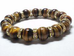 タイガーアイ虎目石×金ロンデル12ミリ数珠