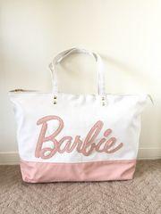 バービー/Barbie 白×ピンク ロゴ トートバッグ 中古