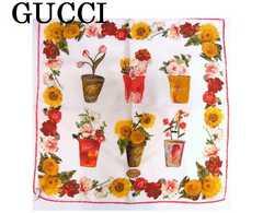 送料無料 GUCCI グッチ シルク100% プチスカーフ ひまわり柄 美品★dot