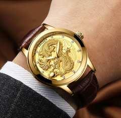 新作新品◆ドラゴンフェイスゴールド腕時計◆海外高級◆龍
