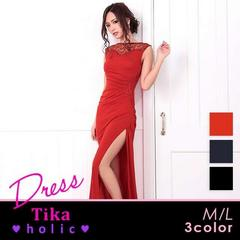 3008-01  Tika新品未使用 セクシータイトスリットロングドレス