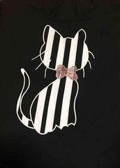新品★LL3L対応★ストライプ猫★ストレッチ柔らかTシャツ★黒