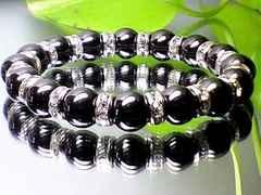成功・勝負運数珠◆強力磁気有ヘマタイトAAA10ミリ銀色ロンデルオラオラ