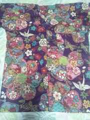 ☆新柄紫×金彩大花折鶴蝶和柄ダボシャツS