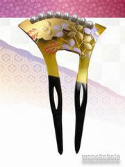 【和の志】着物や浴衣に◇銀杏型簪パール付き◇萩柄KNZ-132