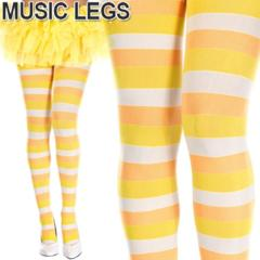 A665)MusicLegsキャンディーコーンストッキングボーダータイツイエローオレンジ白派手ハロウィン